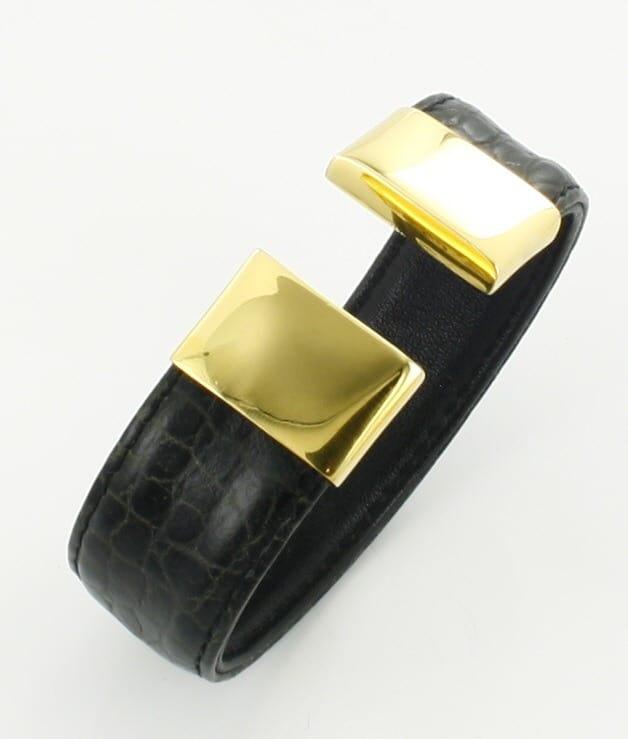 7ebd126cf4e3 Pulsera Rígida de Oro 18 Quilates y Piel Negra