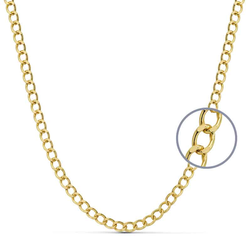 código promocional cb1e6 6666c Cadena Barbada Hueca en Oro Amarillo 18 Quilates de 4,5 mm, 10,90 gr y 60  cm de Largo