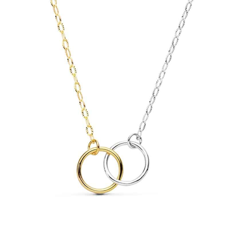 f80130b77292 Collar Doble Aro Enlazado Oro Bicolor 18k