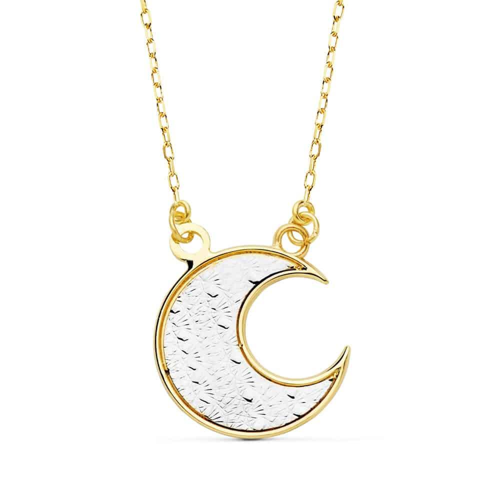d7b9e83e8b0b Collar Oro 18 Quilates Media Luna Bicolor