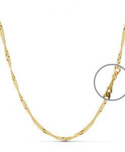 Cadena Singapur de Oro Amarillo 18 Quilates con 45 cm de Largo y 5,0 gr