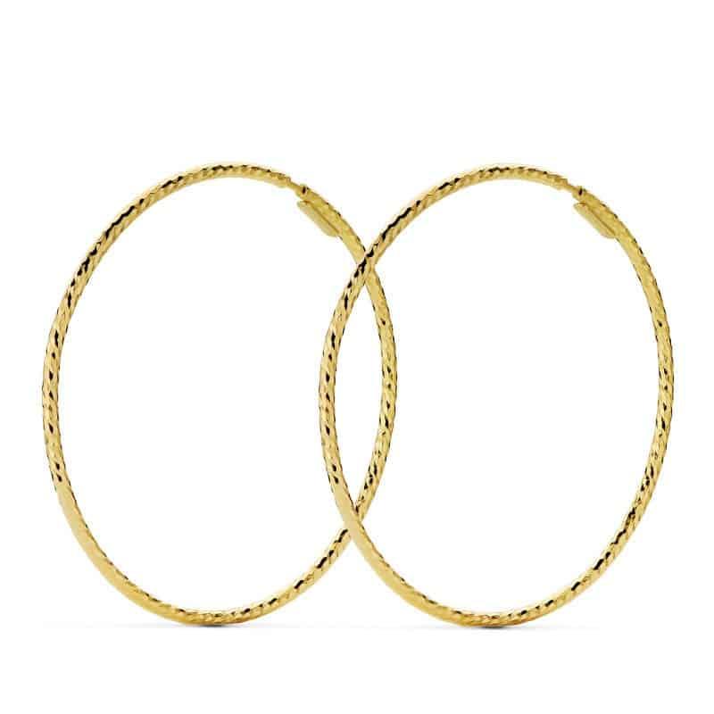 fa3ac2c44845 Pendientes Aro Diamantado Oro 18 Quilates