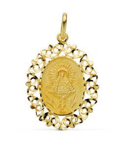 Medalla Cerco Calado Virgen Pilar 30x22 mm Oro Amarillo 18 Quilates