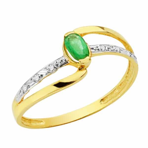 51a843b9d85e Anillo Oro 18k Circonitas y Piedra Verde