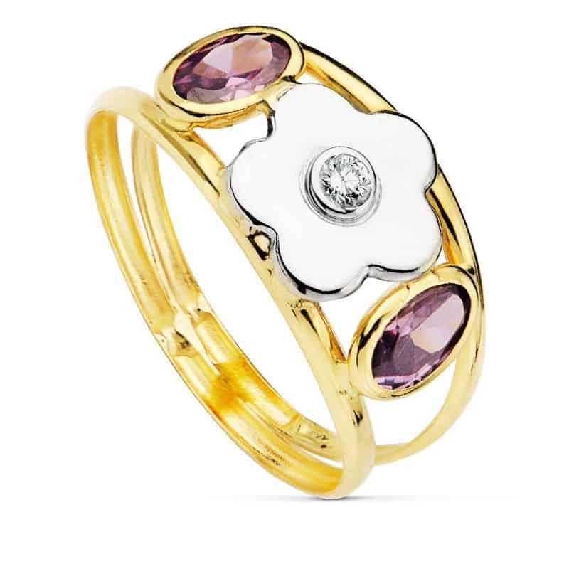 89d7d7f62264 Anillo Oro 18K Piedras Violetas y Flor